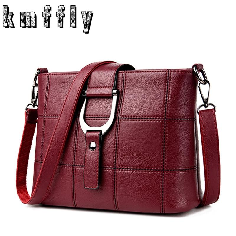 1f2672399da US $15.49 46% OFF 2018 Fashion Plaid Women Famous Brands Designer Female  Handbag PU Leather Shoulder Bag Sac Luxury Women Messenger Bags Handbags-in  ...
