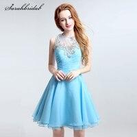 Небесно Голубой Sexy Line Мини Homecoming платья без рукавов с открытой спиной с кристаллом Бисер платья для выпускного вечера LSX130