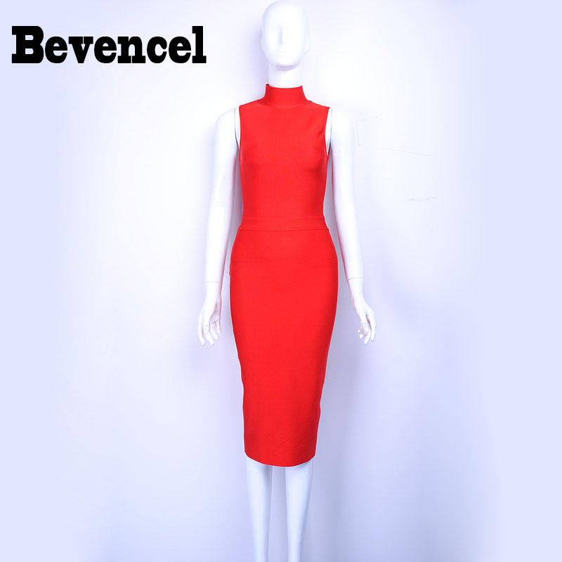 Bevencel 2016 New Arrival Women DressTurtleneck Sleeveless Split Sexy Bodycon Party Dress Elegant Club Bandage Dress