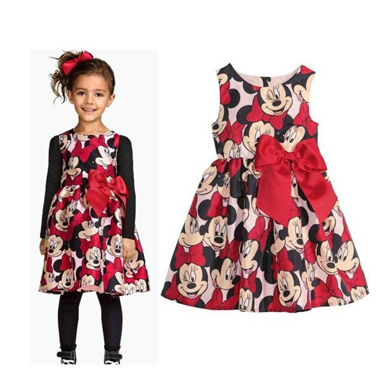 New Cute Girl Red Dress Cartoon Minnie Baby Girl Dress Party Wedding Costumes Sleeveless Girls Dresses
