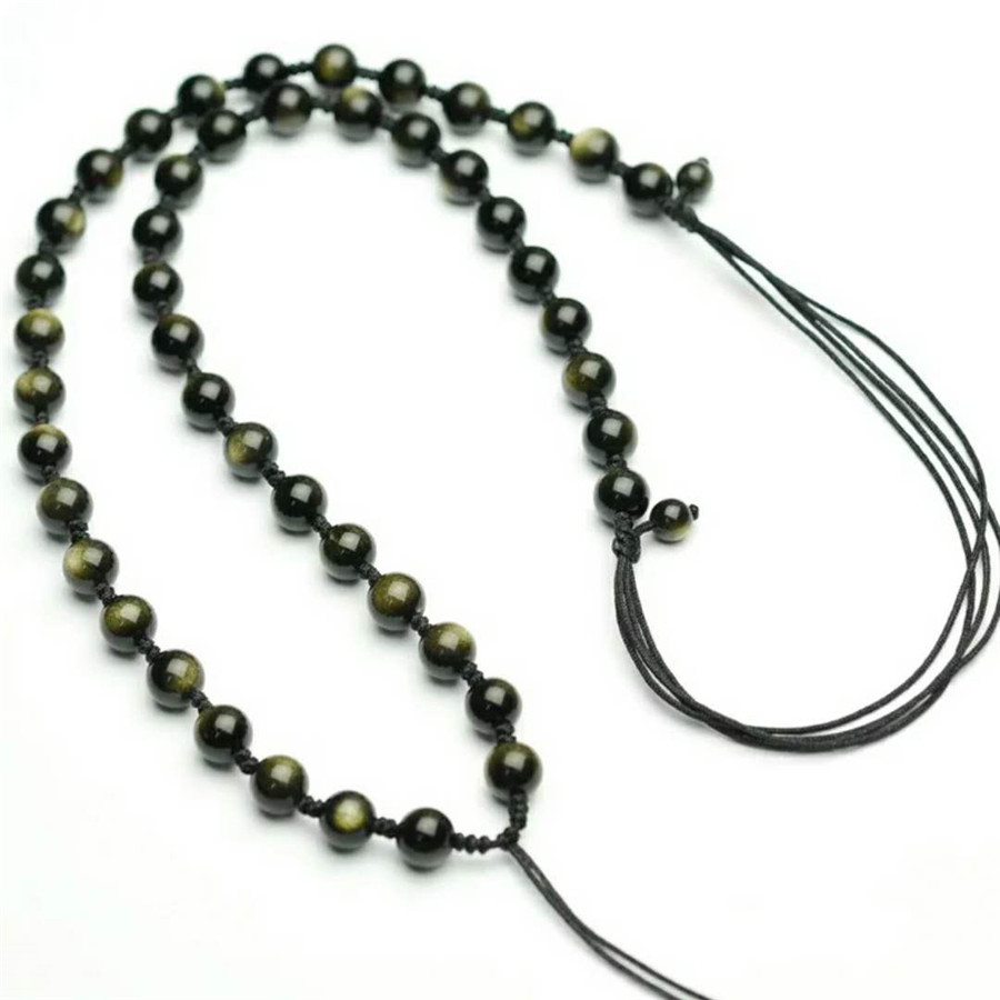 Genuine Natural Gold Obsidian Gems Stone Crystal Round Beads Jewelry Women Mens Powerful Adjustable Necklace 6mm