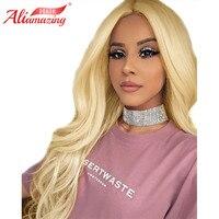 Али удивительные волосы блондинка парик 613 объемная волна 250% плотность кружева фронтальной парики с ребенком волосы среднего размера парик