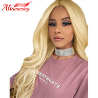 Ali Amazing Hair Blonde Lace Front Wig 613 Body Wave 250% Density Lace Frontal Wigs With Baby Hair Medium Size Human Hair Wigs