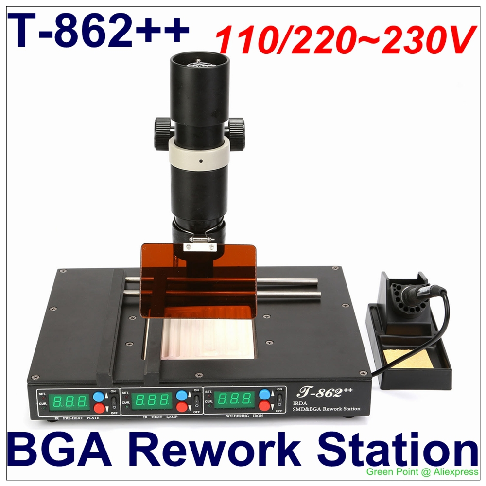 In Stock PUHUI SMT BGA IR Rework Station T 862++ IRDA Welder Oven T862++  Infrared SMT SMD IRDA BGA Welder T 862 updated model-in Electric Soldering  Irons ...