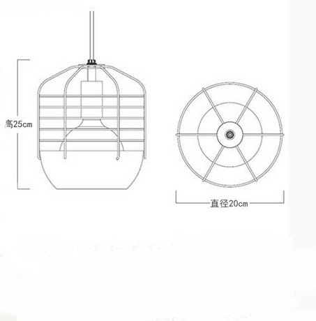 Stile Loft Creativo Gabbia Droplight LED Lampade a Sospensione Per La Sala da pranzo Lampada A Sospensione Vintage Illuminazione Industriale - 3
