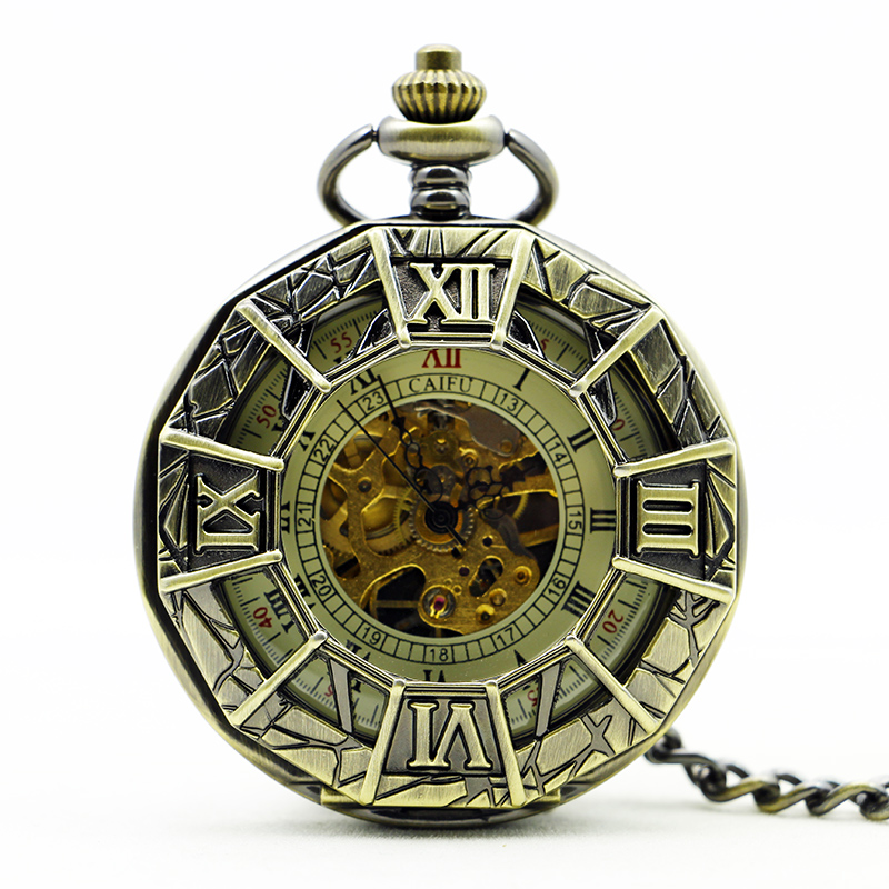 Vintage Bronze Hollow Roman Numerals Mechanical Pocket Watch Antique Spider Engraved With Fob Chain Pendent PJX1125