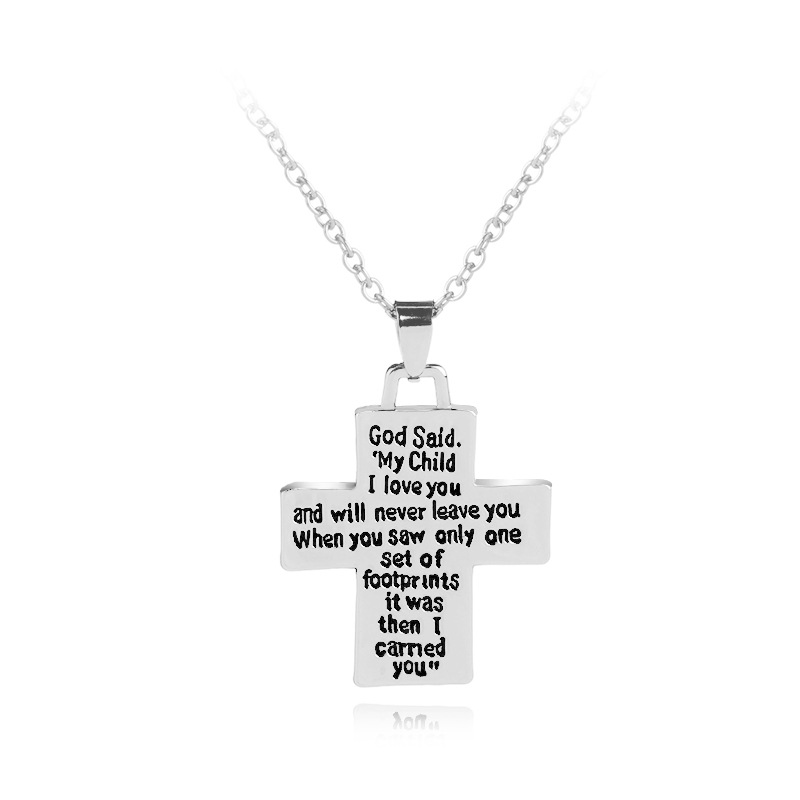 Fashion silver color cross god said letter print faith pendant fashion silver color cross god said letter print faith pendant necklace trendy my child i love you belief necklace jewelry gift in pendant necklaces from aloadofball Image collections