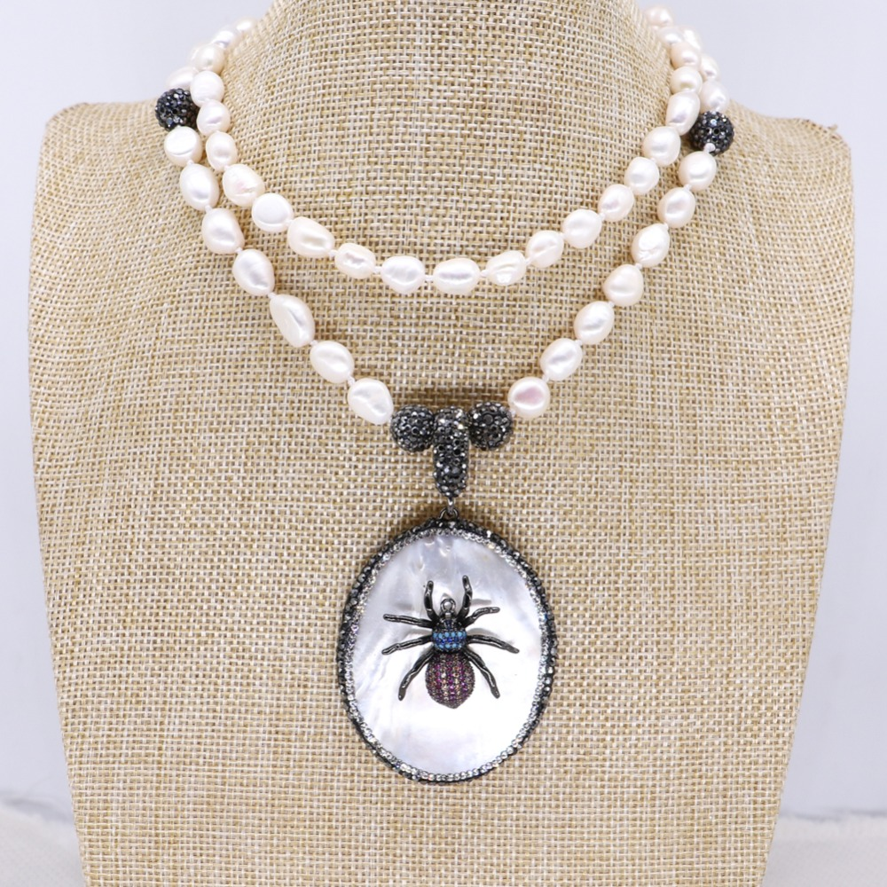 Natural shell pendant with tiny Bugs pendant necklace handmade pearls strand jewelry necklace fashion jewelry gift for lady 4124
