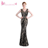 2017 High Quality Lace V Neck Black Sequin Lace Mermaid Prom Dress Full Dress Back Perfect