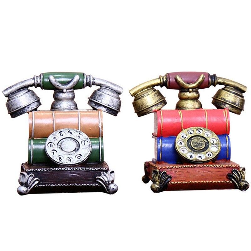 Rétro téléphone horloge Figurine ornements décor à la maison décorations de mariage Vintage décoration accessoires ornent horloge ornements