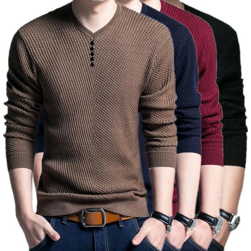 Men's Slim Fit Long Sleeve V-neck Knitted Cardigan Pullover Jumper Sweater Tops