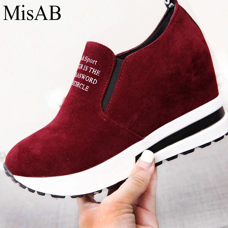 МИСАБ модные кроссовки Женская обувь на плоской подошве для похудения квартиры ботинки–платформы на плоской подошве Для женщин Весенняя дышащая женская обувь на толстой резиновой подошве повседневная обувь лоферы