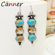 CANNER Vintage Geometric Earrings Long Natural Stone for Women Dangle/Drop Boho Ethnic 2019 FI