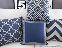 Mavi yastık kapak mavi atın yastıklar Donanma Minder Kapak Ev Dekor soyut geometrik Yastık Pamuk Keten kanepe yastık
