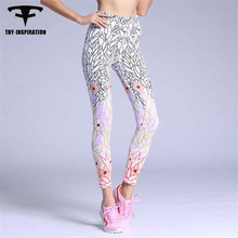 TRY.INSPIRATION Flower print Fitness Women Yoga Pants Elastic Tights Sport Pants Leggings Breathable Gym Running Trousers Pants