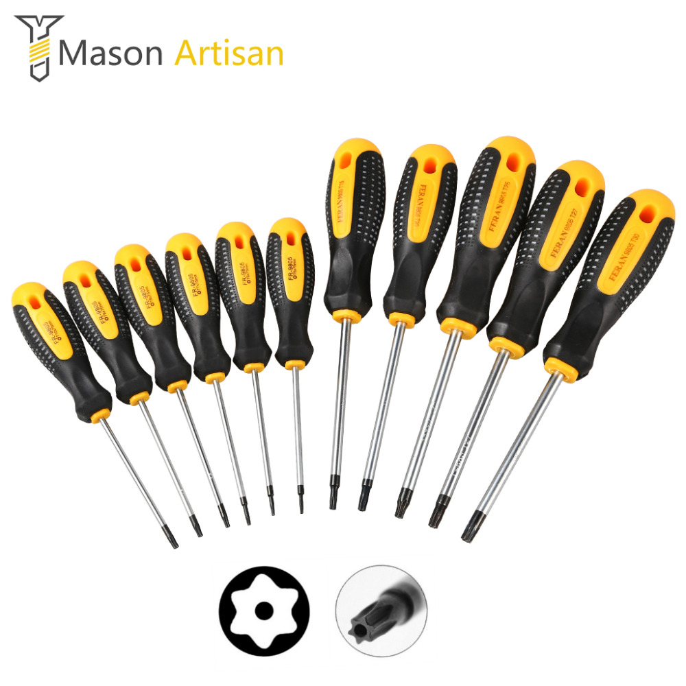 11Pcs Cr-V Torx Screwdriver Set with Hole Magnetic T5-T30 Screw Driver Set Kit for Telephone Repair Hand Tool Set