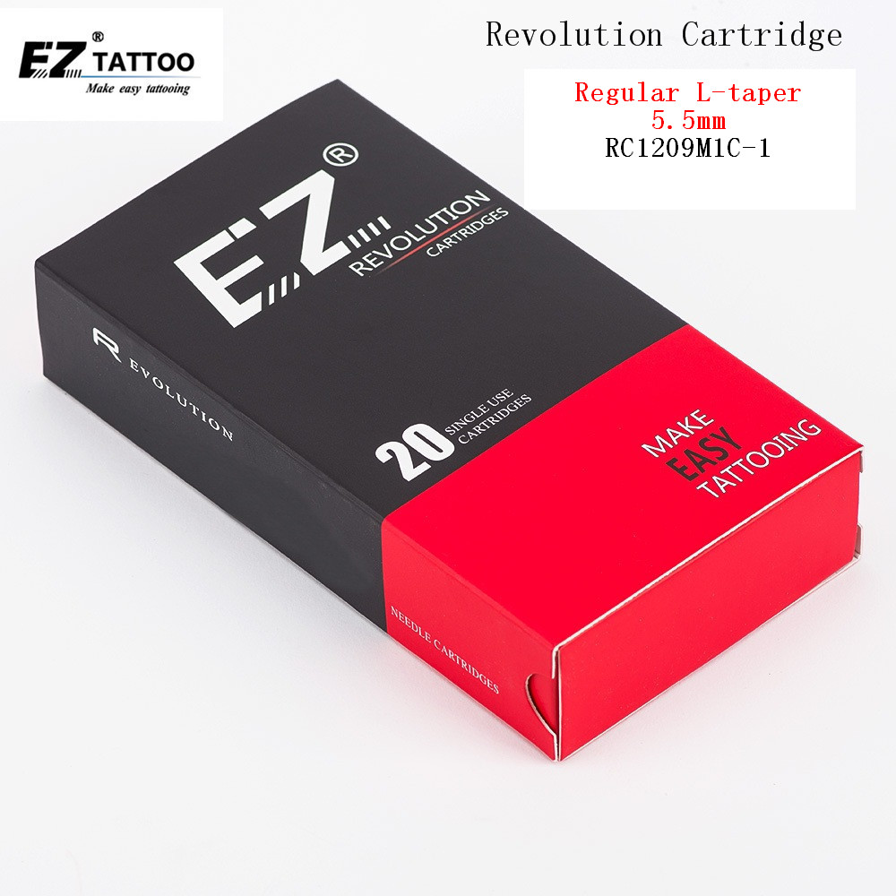 RC1209M1C-1 EZ Revolution Cartridge Needles Curved Magnum Tattoo #12 (0.35 mm) Long Taper 5.5 mm 20 pcs/Box