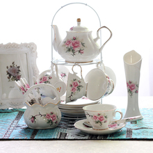 British style delicate bone china coffee cup set, european vintage tea cup, kettle, teapot and saucer set