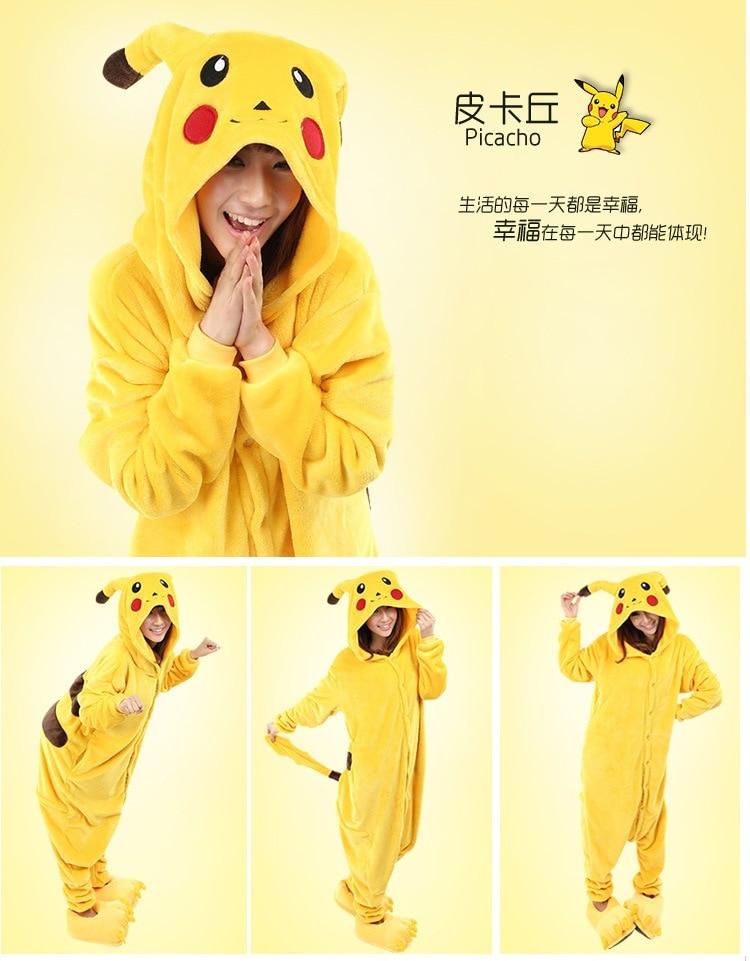free pp New Winter Sleepsuit Adult Cartoon Yellow Pikachu Onesie Unisex Animal Onesie Costumes Sleepwear Pajamas Cosplay