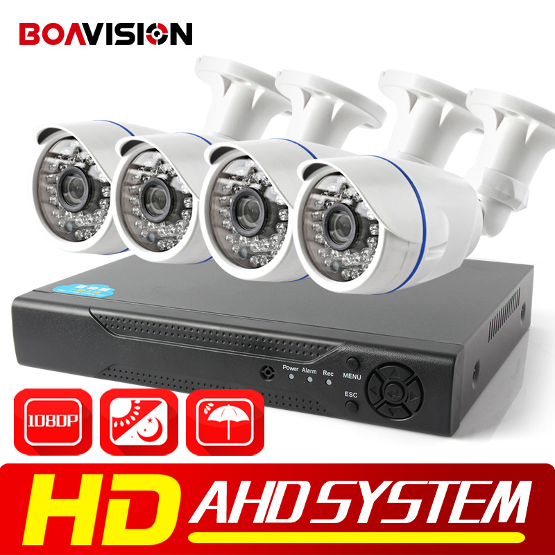 BOAVISION 4CH 1080P AHD DVR System Kit 2000TVL HD Outdoor Security Camera System Bullet 4 Channel CCTV DVR Kit AHD Camera Set white bullet hd camera 8pcs 900tvl security outdoor waterproof camera 8ch ahd 1080p 960h cctv system 3g wifi dvr kit hdmi 1080p