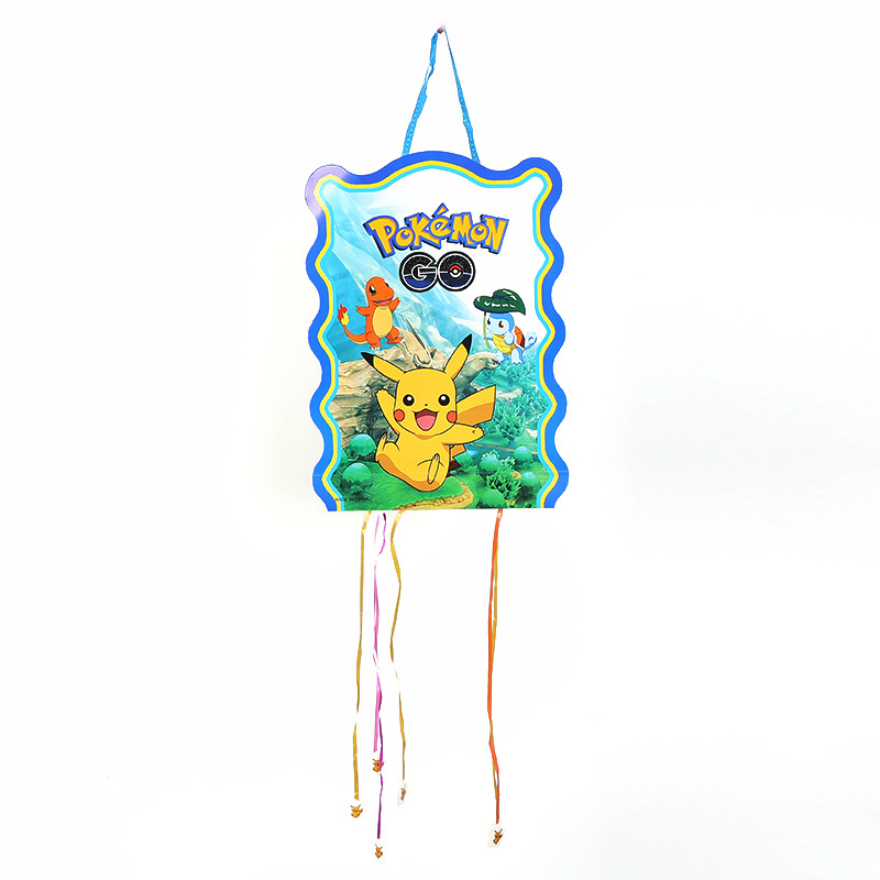 1pc 40x30cm Pokemon go Pikachu Pinata theme Party play party game bingo paper folding pinata 6 rope Birthday Decoration
