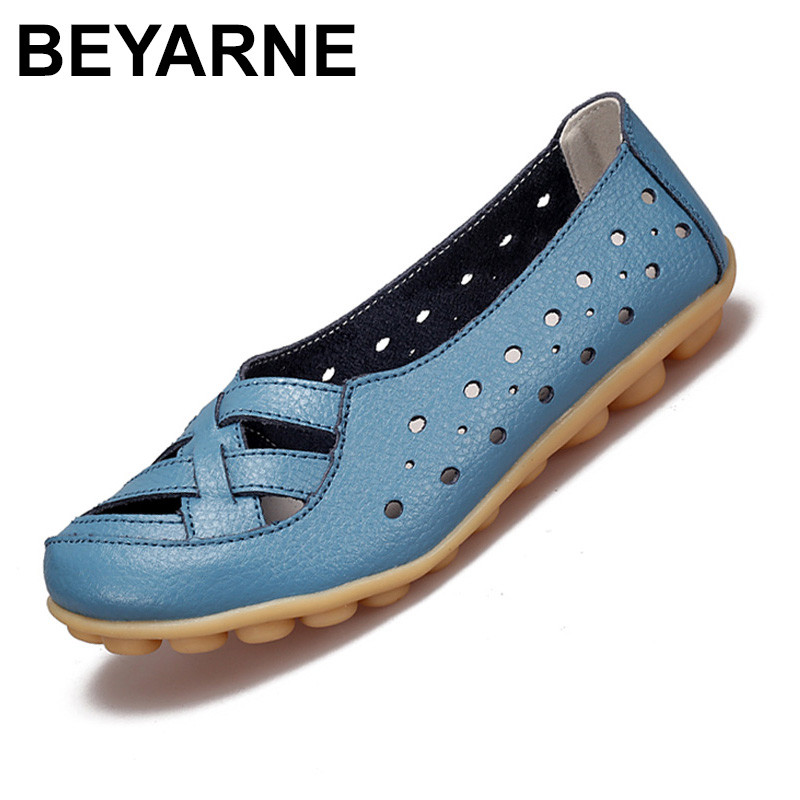 BEYARNE Genuine Leather Breathable Casual Loafers Shoes Women Sandals Summer Shoes Flats with Hollow Out Plus Size 34-44 boys girls antislip usb sandals summer cut out comfortable flats beach sandals kids children breathable led shoes with light