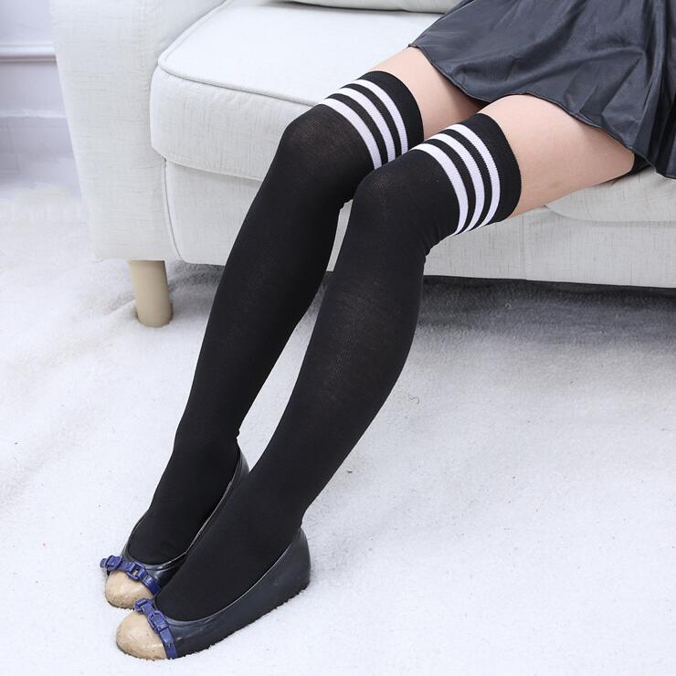 1 Pair 2018 Fashion Thigh High Over Knee High Socks For Girls Womens Students Striped Cotton Long Stockings calcetines mujer