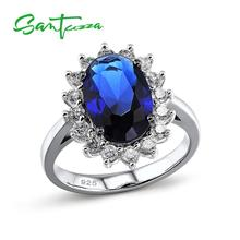 SANTUZZA Silver Rings for Woman Oval Blue Stone Ring AAA Cubic Zirconia Rings Pure 925 Sterling Silver Party Fashion Jewelry cheap 925 Sterling Women GDTC Fine Prong Setting Silver Ring for Women ROUND TRENDY Bridal Sets 100 925 Sterling Silver White Rhodium Plated