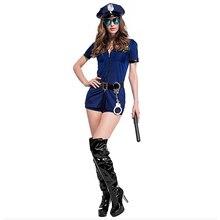 Sexy Erotic Police Uniform Zipper Costume Woman Lingerie Role Play Halloween Dark Blue Sex suit M213
