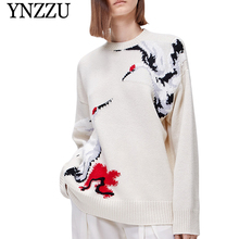 YNZZU 2019 Autumn Winter Luxury Cranes Women Sweater O-neck Long sleeve Loose Pullover Tops Fashion Oversize Knit Jumper YT678 navy oversize knit crew neck sweater