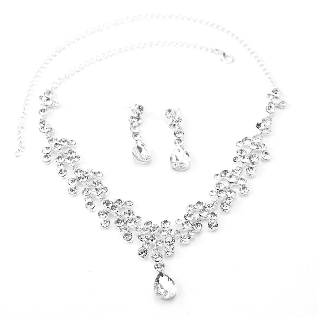 Rhinestone Wedding Bridal Jewelry Set Necklace Chain Ear Piercing Earrings Set Drop