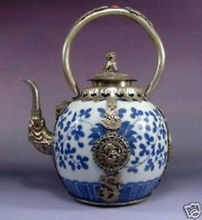 Chinese Old china Tibet Silver dragon Blue and White Porcelain teapot wholesale factory Arts outlets