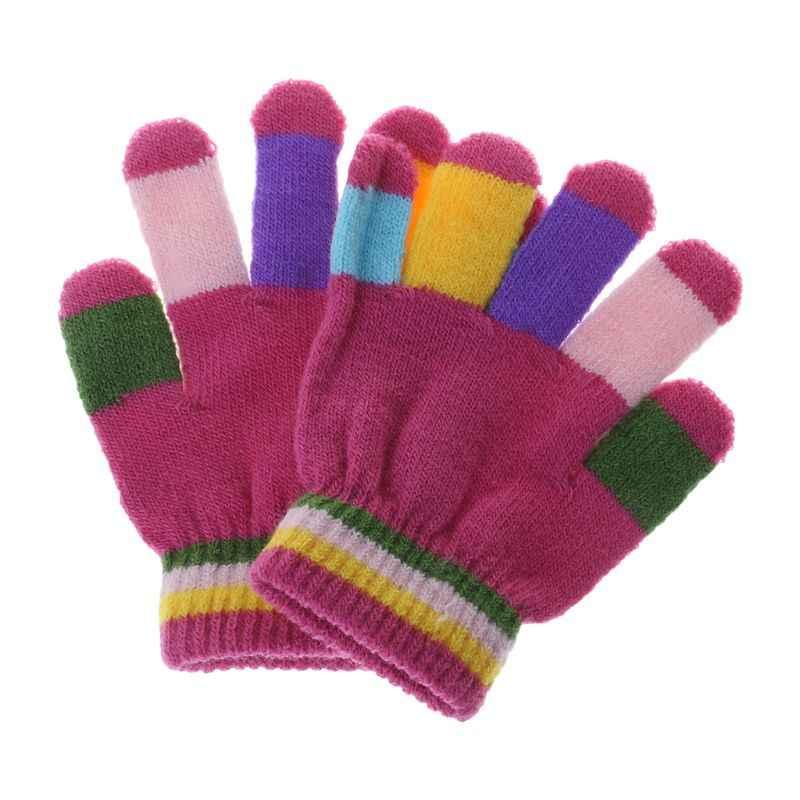 1 זוג ילדי כפפות אצבע מלאה חם חורף ילדים צבעוני פס סרוג בני בנות מוצק כפפה רב צבע אלסטי
