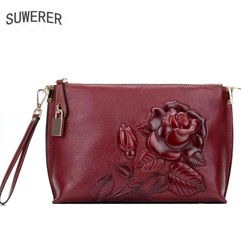 Из натуральной кожи модные женские сумки тиснением роза цветы сумки женские сумки дизайнерские женские кожаные сумочки конверт клатч