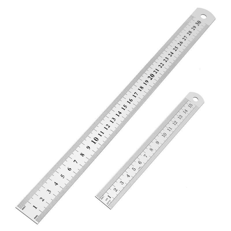 Stainless Steel Ruler 12 Inch + 6 Inch Metal Rulers