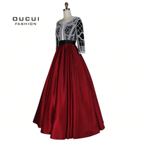 Pearl Decoration Arabic Ball Gown Muslim Prom Dress Evening Long Party Burgundy Color Handmade Three Quarter