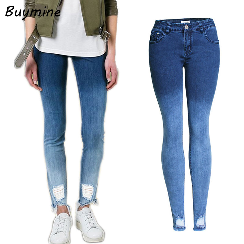 3XL Gradient Denim Jeans With High Waist Blue Ripped Jeans Woman Elastic Slimming Pencil Pants Autumn Stretchy Boots Jeans Pants смартфон highscreen fest xl pro blue