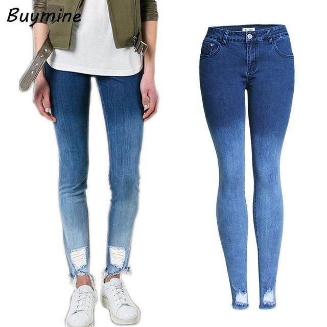 d22b73b2cda 3xl Denim gradiente Vaqueros con alta cintura azul rasgado Vaqueros mujer  elástico adelgaza lápiz Pantalones otoño