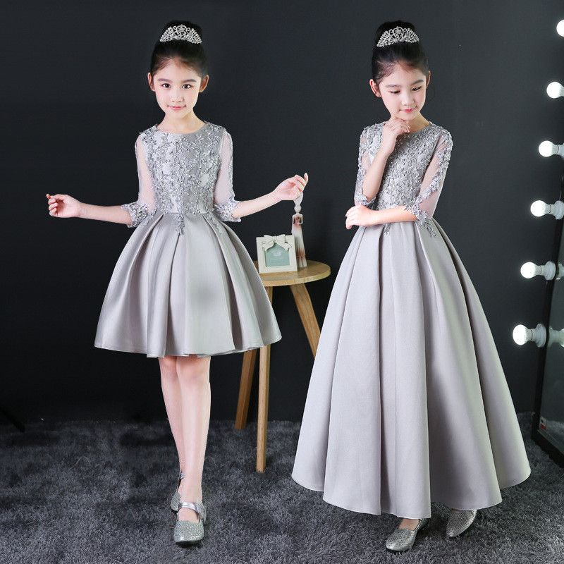 2019 Baby Silver Princess Dress Appliques Kids Girls Formal Dress Birthday Costume Hollow Out Pleated Prom Party Dress Gown X012019 Baby Silver Princess Dress Appliques Kids Girls Formal Dress Birthday Costume Hollow Out Pleated Prom Party Dress Gown X01