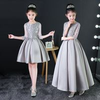 2019 Baby Silver Princess Dress Appliques Kids Girls Formal Dress Birthday Costume Hollow Out Pleated Prom Party Dress Gown X01