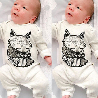 2016 New Lovely Newborn Baby Girls Boy Fox Romper Jumpsuit Playsuit Outfits Clothes Long Sleeve Clothing Spring Summer 3 6 12 24 2017 new adorable summer games infant newborn baby boy girl romper jumpsuit outfits clothes clothing