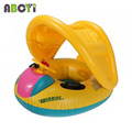 12-36 month Baby Inflatable Toddler Baby Swim Ring Float Seat Swimming Pool Seat with Canopy & steering wheel Free Shipping