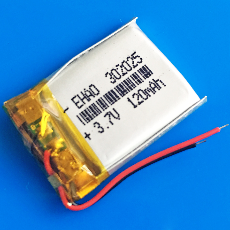 3.7V 120mAh Lithium polymer lipo rechargeable battery <font><b>302025</b></font> for MP3 GPS bluetooth speaker bluetooth headset headphone camera image