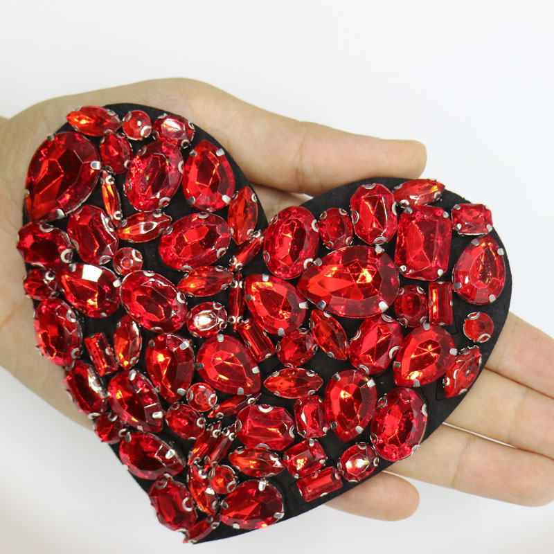 1pc 3D Handmade rhinestone beaded Patches for clothing red heart 12 10cm DIY sew on parches Embroidery heart applique in Patches from Home Garden