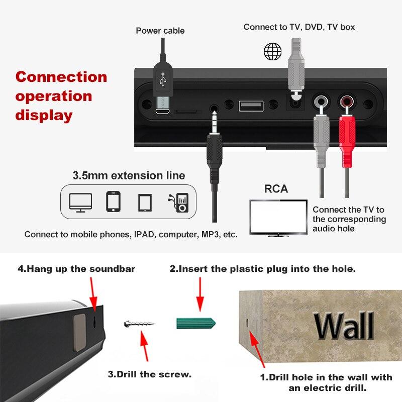 2019 haut-parleurs Audio de basse forte filaire et sans fil Bluetooth 5.0 barres de son pour TV Audio basse et HIFI Support de puce 3.5mm - 5