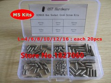 120pcs M5 Cup Point Hex Socket Set Screw DIN916 stainless steel Grub screws M5*4/6/8/10/12/16mm