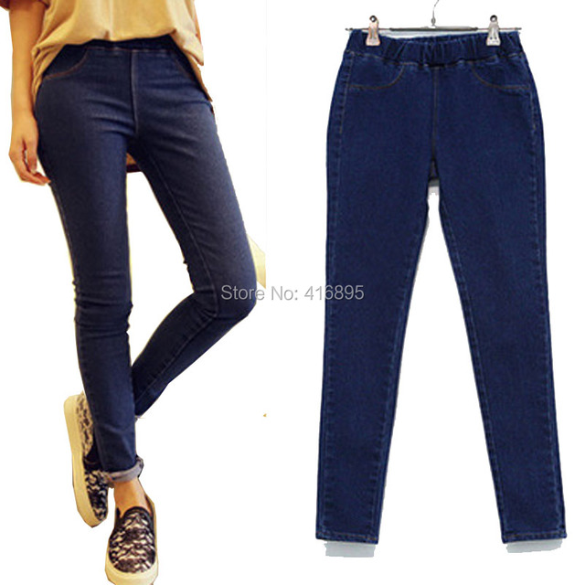 new women extra large casual elastic in the waist high elastic skinny jeans denim jean female big plus size 3xl 4xl 5xl 03150316