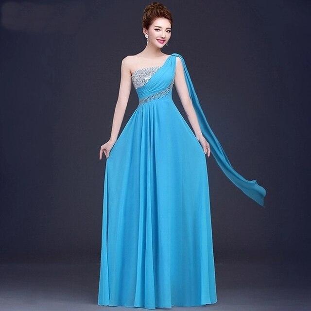 Xs3 economici turchese donne eleganti chiffon a line vestito da partito abiti  da sera lunghi 2017 33214e137f4