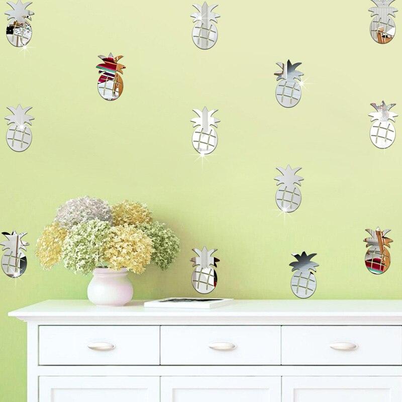 12Pcs/lot Acrylic Mirror Wall Sticker Pineapple Shaped Removable ...