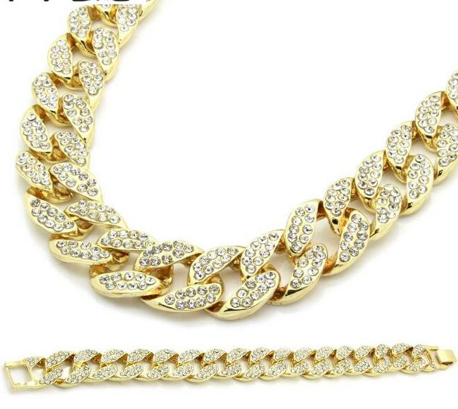 Miami Cuban Link Chain Gold color Fully Iced Out Hip Hop Bling 2016 Hot Sale New Arrival Promotion Chain&Bracelet Set For Mens 7 rose gold black color unique new cuban link chain design cool mens jewlery hiphop rock wide cuban link chain bracelet bangle
